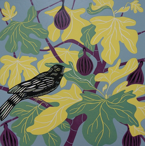 Blackbird and Fig Print Linocut