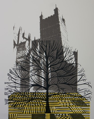 Exeter Cathedral Linocut and Screenprint