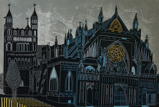 Exeter Cathedral Linocut Print English Churches Etched