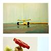 Jasmyne Graybill Run-Off Acrylic paint, polymer clay, sprinkler, spigot, water hose 9' x 7' square (Installation view)