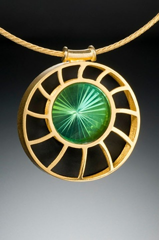 """The Nautilus Pendant"" with Turbine-Cut Green Tourmaline"
