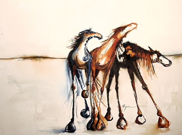 """Three Painted Horses"""