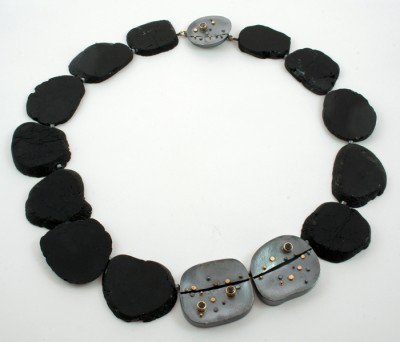 """Black Tourmaline Slice Necklace"""