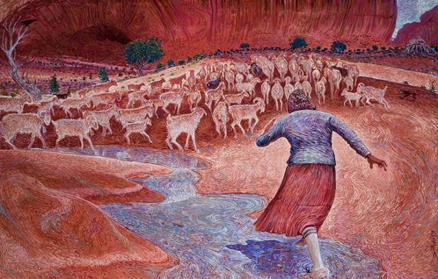"""Mother with Sheep in Canyon"""