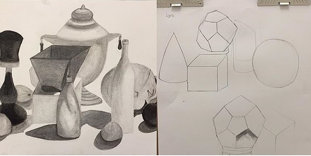Drawing I, First Drawing and Last Drawing, Charcoal on Paper, Pulaski Tech 2016