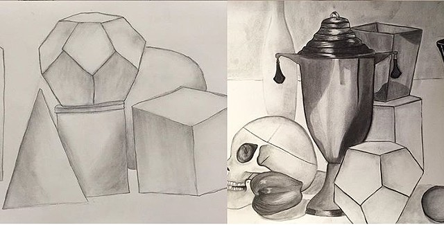 Drawing I, First Drawing and Last Drawing, Pulaski Tech, 2016