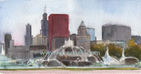 City scape, Watercolor