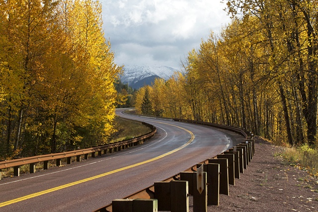 An autumn day on the road to Essex, Montana along  the boundary of Glacier National Park.