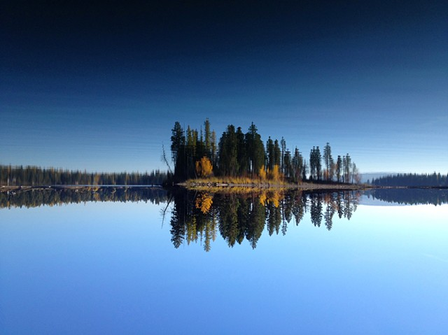 A reflective moment on Echo Lake in northwestern Montana