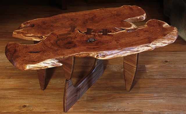 Mesquite top coffee table designed to honor two great friends and iconic craftsmen--George Nakashima and Isamu Noguchi.