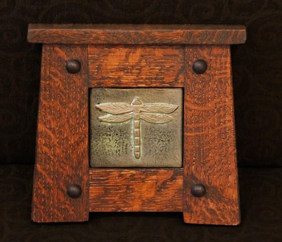 Hand-carved dragonfly pattern tile in classic Arts & Crafts style quarter sawn White Oak frame.
