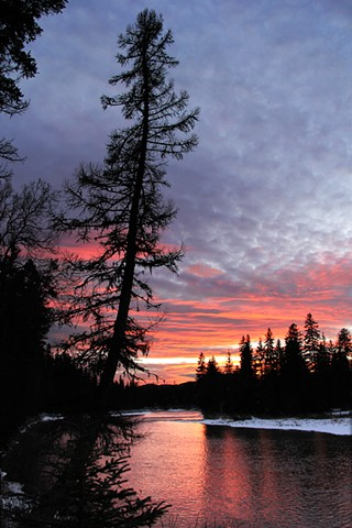 A December sunset on the Swan River, Montana.