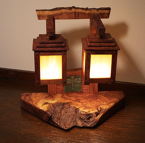 Mesquite lamp w/ dragonfly tile, evocative of a Japanese Tori gate in form.
