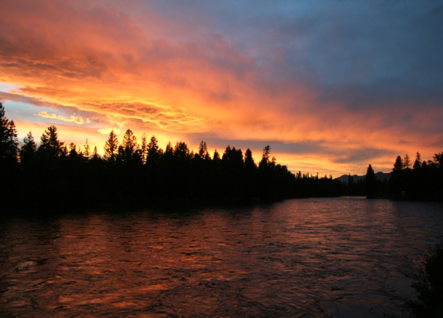 Brilliant sunset over the Swan River in northwest Montana.