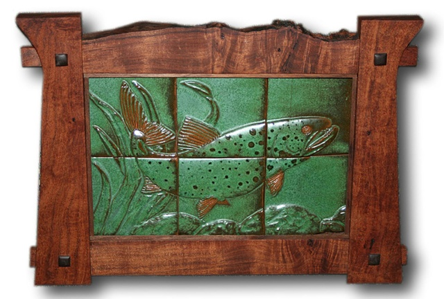A Mackinaw (Lake Trout) prowls the depths of this hand-carved ceramic tile mural in an Arts & Crafts style mesquite wood frame.
