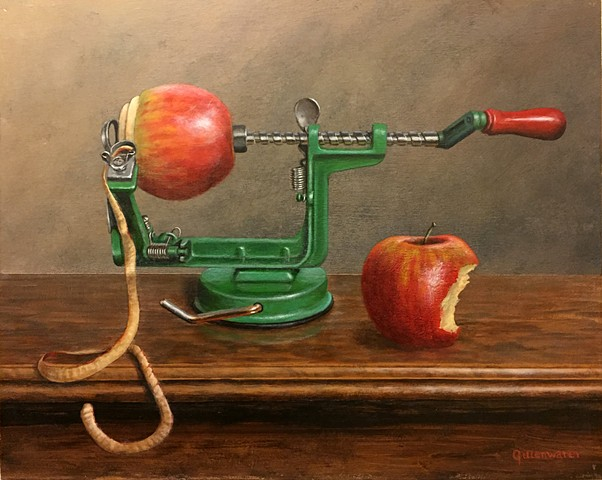 Still-life of an old-fashioned apple peeler awaiting completion of its appointed task.