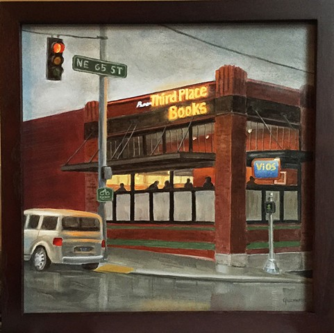 """RAIN CITY NIGHTHAWKS"" - Early evening on a quiet Seattle corner brings memories of Edward Hopper."