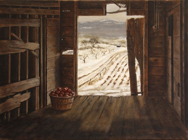 Early winter light illuminates the last bushel of apples from a Flathead Valley farm in northwest Montana.