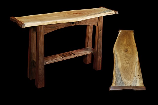 Asian style console table with natural edge Elm slab top and Black Walnut base