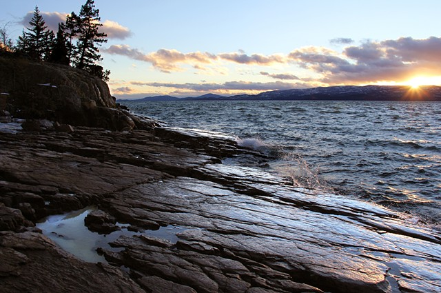 January Chinook winds pound the shores of Flathead Lake in northwestern Montana.