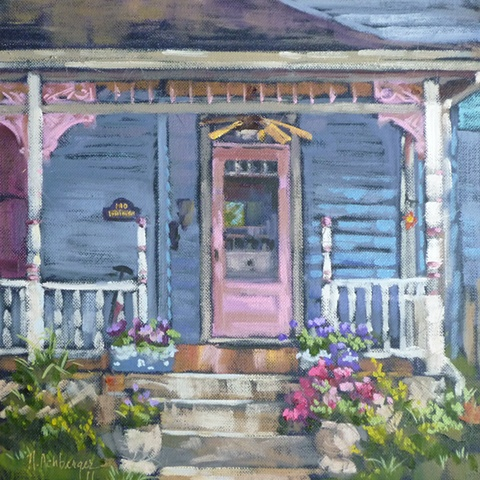 plein air painting of house on Loveland Ave., Loveland, Ohio