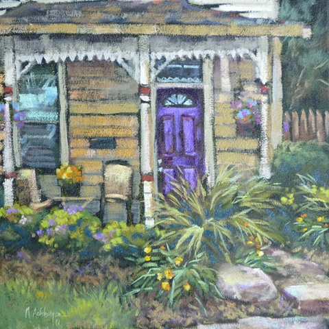 plein air painting of house on Park Avenue, Loveland, Ohio