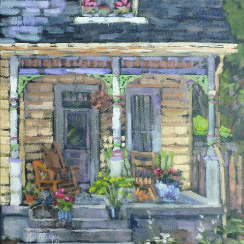 plein air painting of house on Riverside Dr., Loveland, Ohio