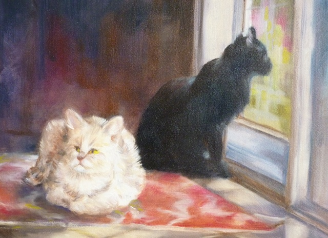 oil painting of two cats