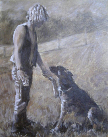 Oil painting commission sepia portrait of man and his german shepherd