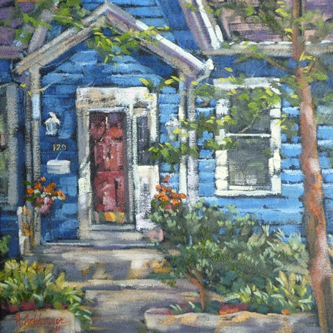plein air painting of house on Wall St., Loveland, Ohio