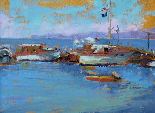 plein air palette knife painting of wooden boats at Lakeside, Ohio