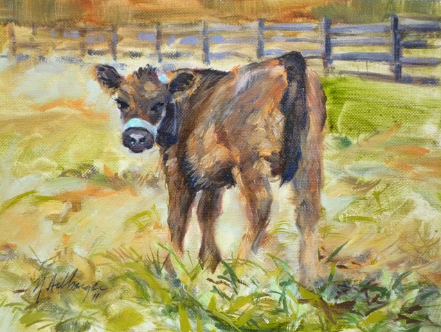 oil painting of calf at Turner Farm, Indian Hill, Ohio