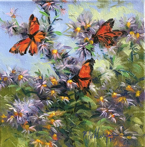 Monarch butterflies with flowers