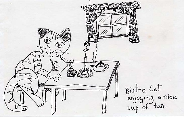Bistro Cat Enjoying a Nice Cup of Tea