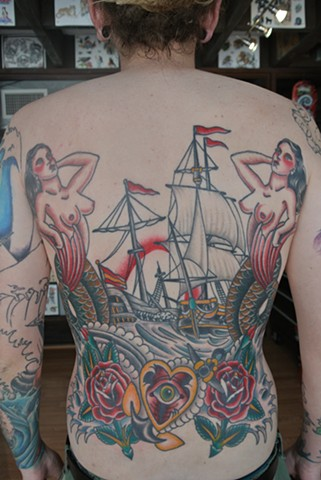 Ship and mermaid back piece