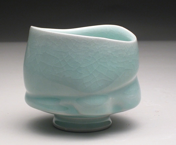 wheel thrown and altered celadon teabowl