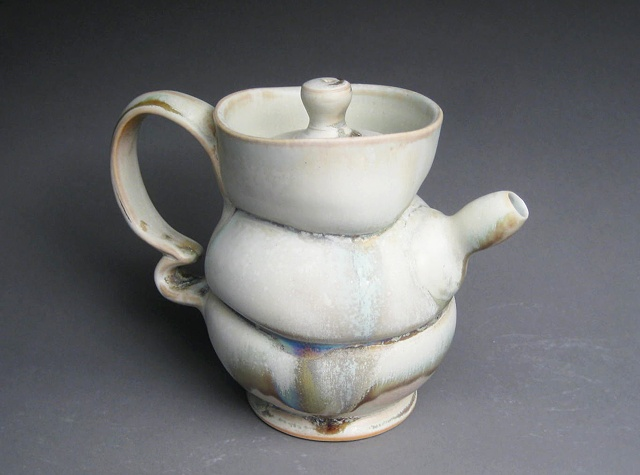 wheel thrown and altered porcelain teapot