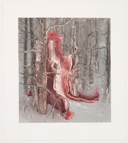 Inka Essenhigh, monotype, saint in snow