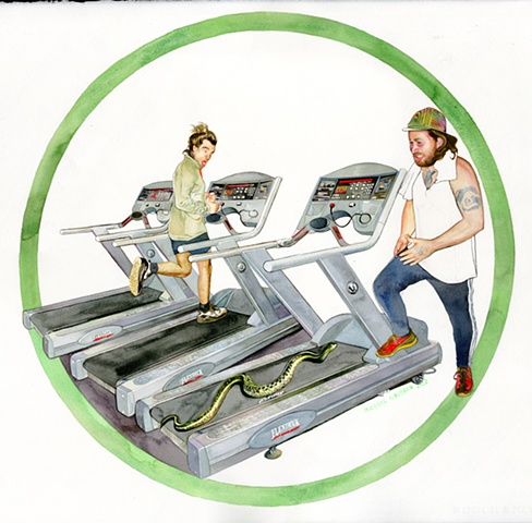 Snake trainer taking snake to the treadmill
