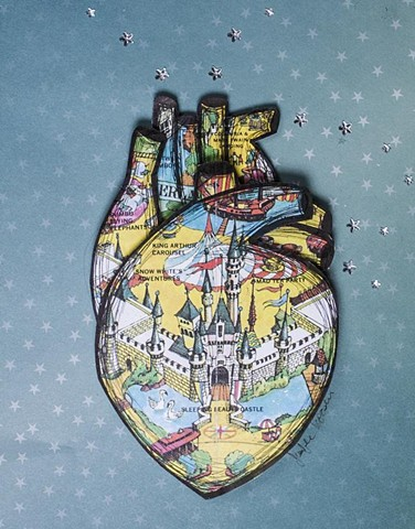 vintage disney map, heart art, anatomical heart, disney art, korsen