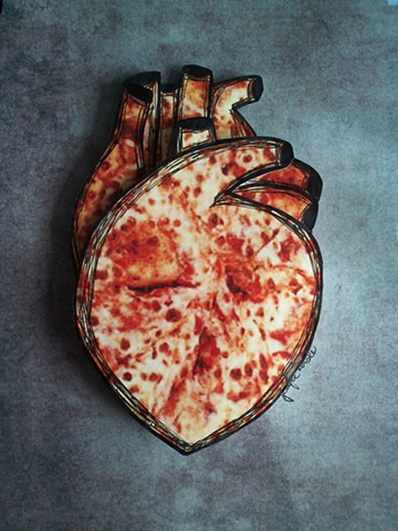 pizza art, heart art, mixed media, pizza heart, korsen