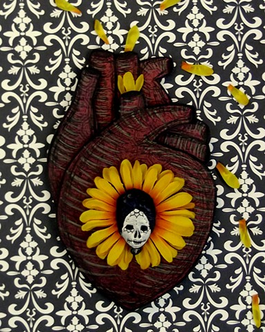dia de los muertos art, day of the dead, heart art, corazon, korsen, mixed media