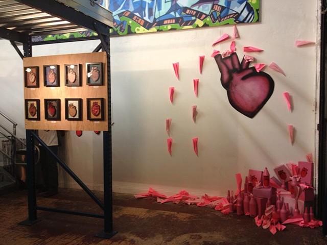 pink trash installation