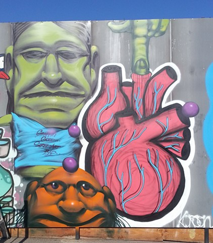 KTown mural with Vyal (close up)
