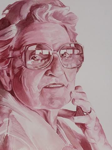 portrait, monochromatic, watercolor