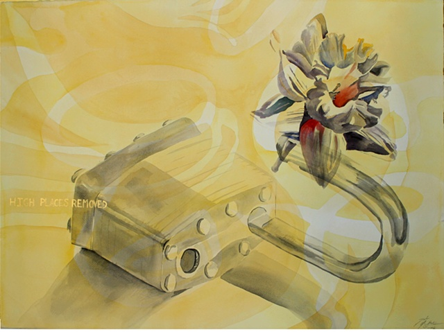 watercolor, collage, juxtapose, conceptual Rachel series