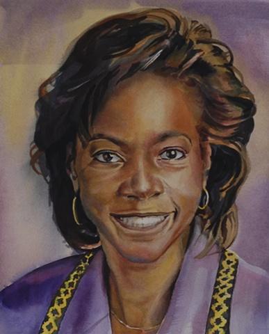 Chicago commission, watercolor portrait, painting