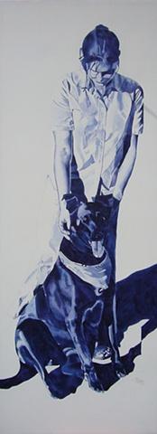 commission, watercolor, portrait, canvas Commissioned watercolor portrait Evanston Illinois Chicago North Shore