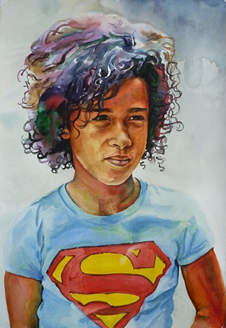 painting watercolor portrait by Josh McCallister little girl