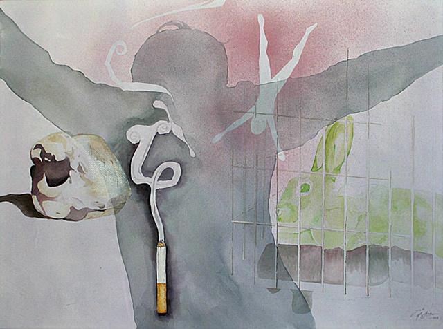 watercolor, collage, juxtapose, conceptual